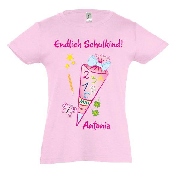 Schulanfang T-Shirt tailliert für Mädchen Schultüte Zuckertüte
