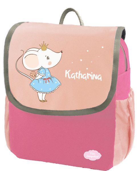 Kindergartenrucksack Happy Knirps NEXT mit Name Pink Mäuseprinzessin