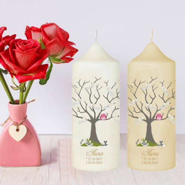 Wachskerze Sternenkind Baum mit Schleifen und rosa Eule