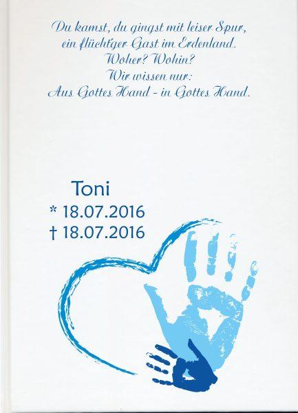 Fotoalbum Sternenkind Handabdruck in blau