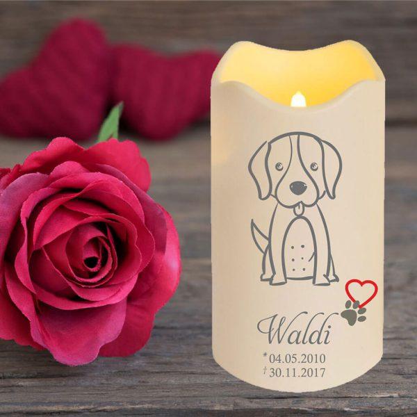 LED Kerze Trauerkerze aus Kunststoff für Tiere Hund Silhouette
