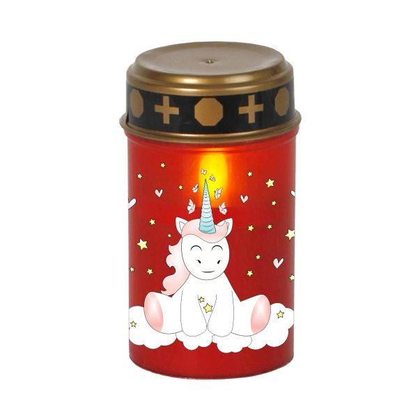 LED Grablicht Kerze Klein Sternenkind Einhorn Cutie sitzend von vorne