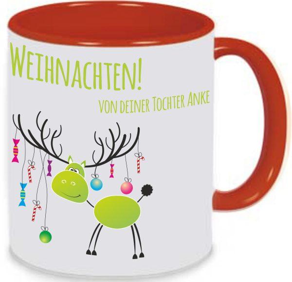 Tasse Rot Weihnachten Elch grün