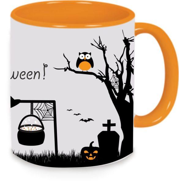 Keramiktasse Tasse Kaffee Tee Becher zu Halloween orange Happy Halloween Eule Baum