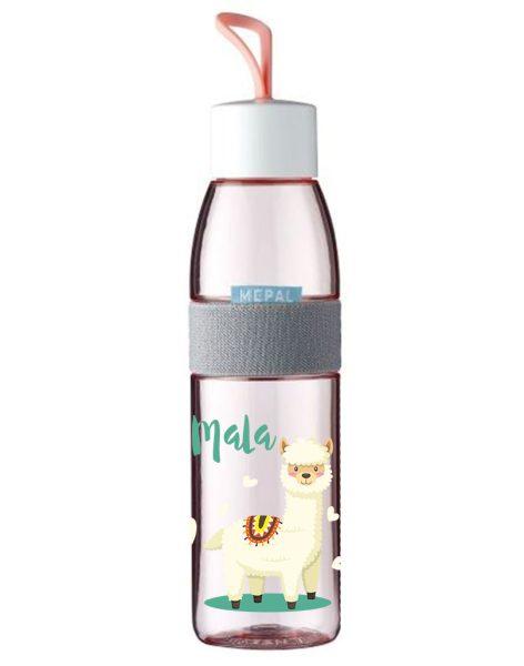 Trinkflasche Ellipse für kohlensäurehaltige Getränke Nordic Pink mit Name und Alpaka