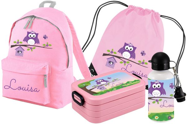Set 5 Rucksack Junior - Brotdose Maxi - Turnbeutel - Trinkflasche Rosa Happy Eule