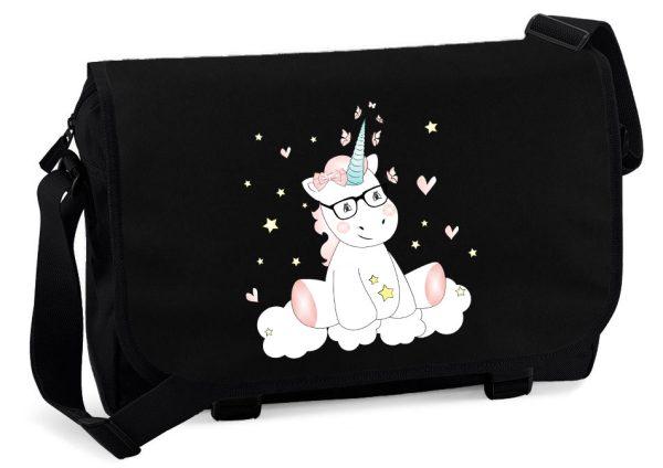 Schultertasche Messenger schwarz Unicorn Einhorn cutie mit Brille