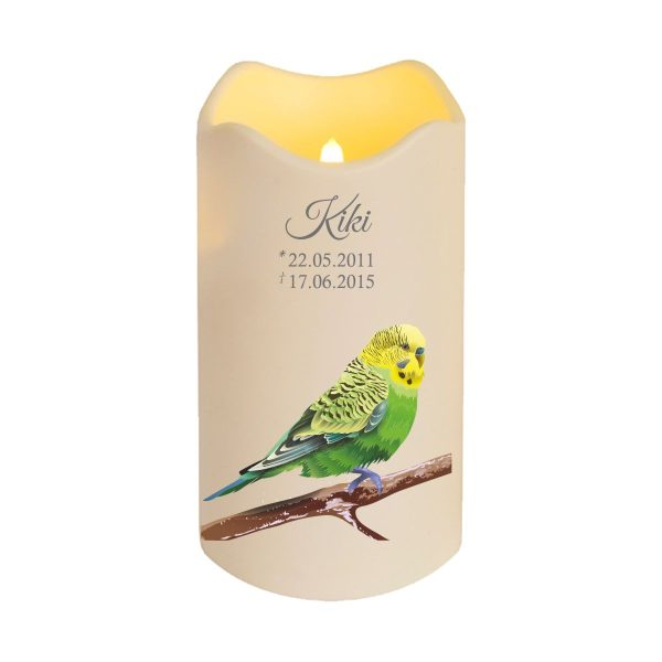 LED Kerze Trauerkerze aus Kunststoff für Tiere Grüner Vogel