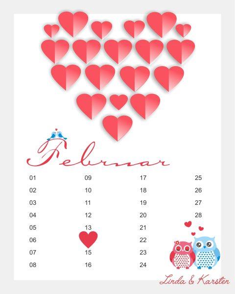 Valentinstag Leinwand mit 3D Herzen