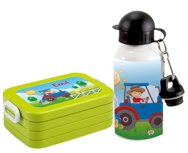 Brotdose Take A Break midi - Alu-Trinkflasche Grün Traktor