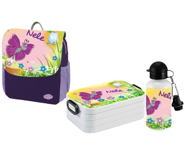 Set 3 Rucksack Happy Knirps NEXT Print - Brotdose Maxi - Trinkflasche Lila Motivauswahl