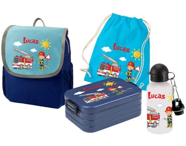 Set 5 Rucksack Happy Knirps NEXT - Brotdose Maxi - Jutebeutel - Trinkflasche Blau Feuerwehr