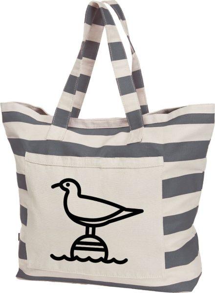 Streifen-Strandtasche Shopper maritim Möwe