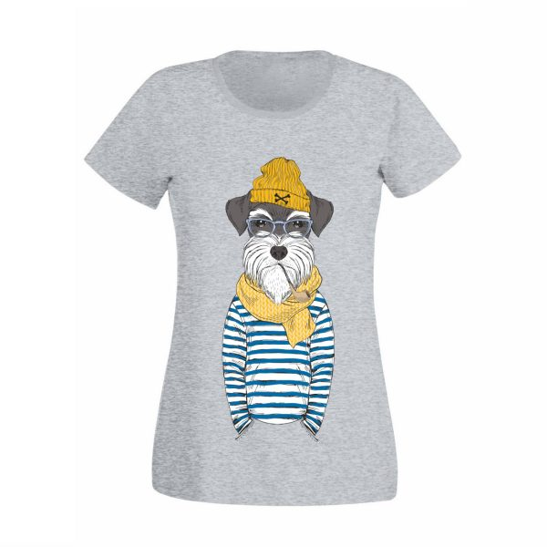 Damen T-Shirt Hund mit Pfeife