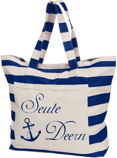 Streifen-Strandtasche Shopper maritim Seute Deern