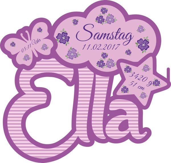 Stimmungslicht Schlummerlampe mit eigenen Namen und Datum lila