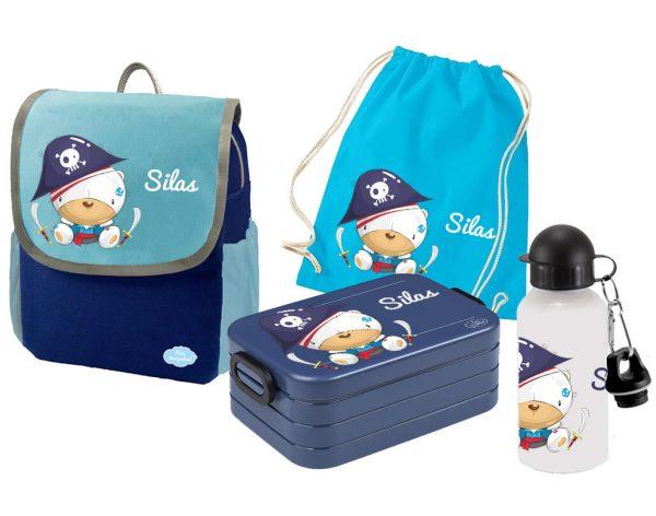 Set 5 Rucksack Happy Knirps NEXT - Brotdose Maxi - Jutebeutel - Trinkflasche Blau Piratenbär
