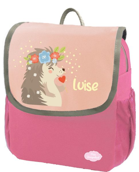 Kindergartenrucksack Happy Knirps NEXT mit Name Pink Igeldame