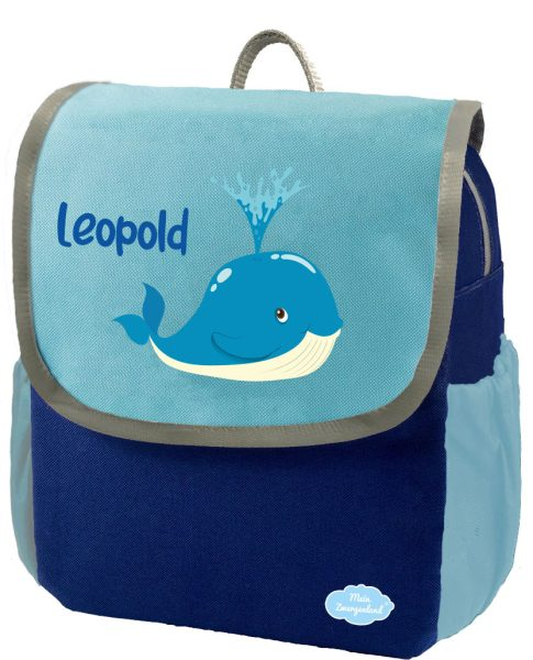 Kindergartenrucksack Happy Knirps NEXT mit Name Blau Wal