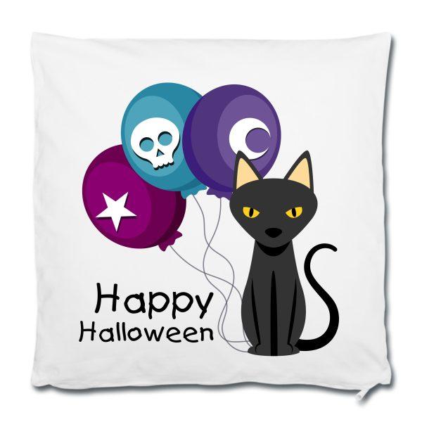 Dekokissen Kuschelkissen Halloween Katze Luftballon