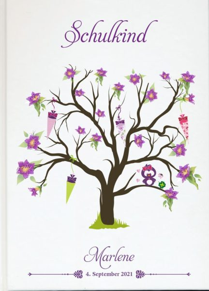 Personalisiertes Gästebuch zur Einschulung Schulanfang lila