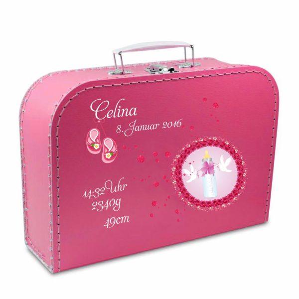 Geschenkkoffer pink Flasche