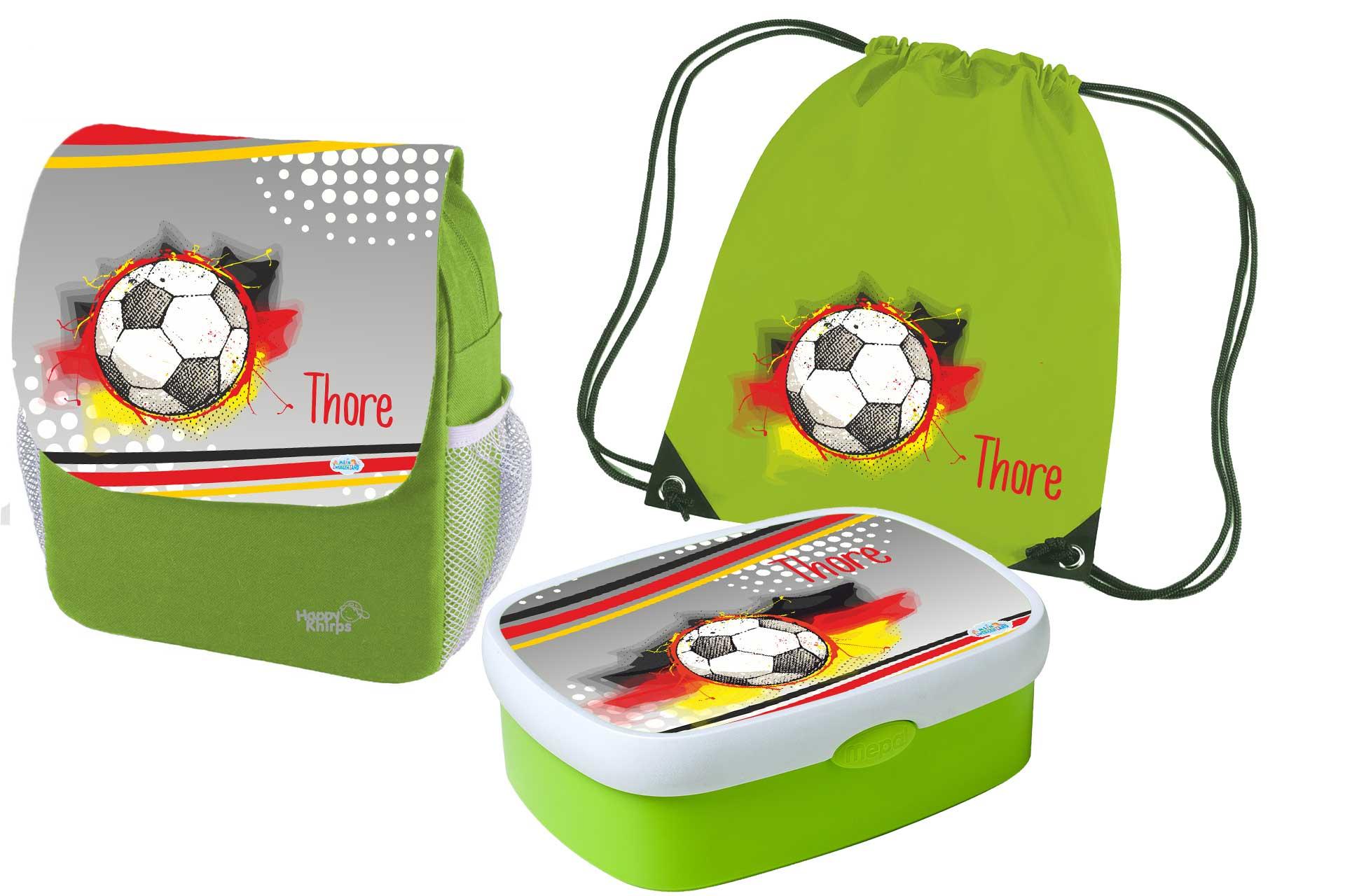 3-teilig Mein Zwergenland Set 3 Kindergartenrucksack mit Brotdose und Trinkflasche Happy Knirps Next mit Name Bagger Gr/ün