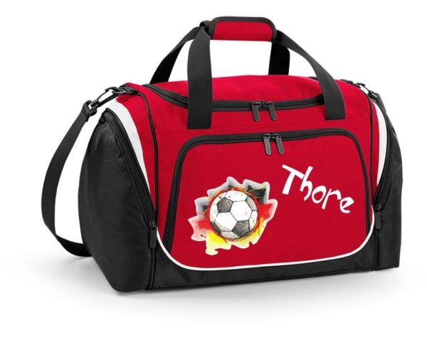 Sporttasche mit Feuchtfach in Rot mit Name und Fußball Deutschland