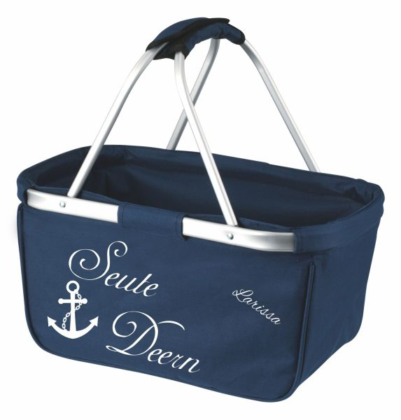 Einkaufskorb Korb navy Maritim Seute Deern