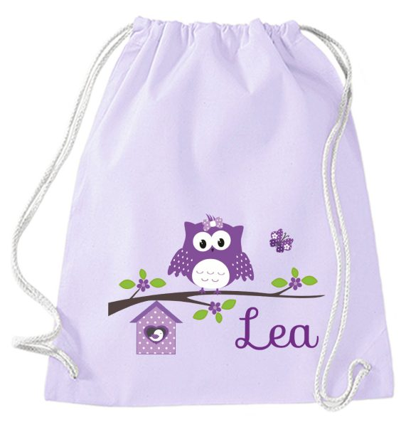 Turnbeutel aus Baumwolle in Lavendel mit Name und Happy Eule