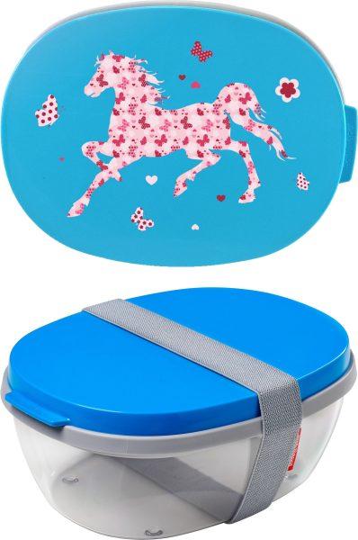 Salatbox Ellipse Aqua Pferd