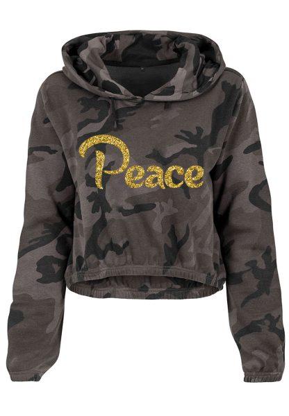 Damen Camouflage Cropped Hoodie Glitzer Peace
