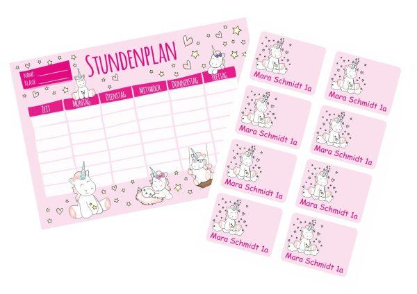 Set: Stundenplan Timetable Schulplaner DIN A4 + 8 Heftaufkleber Stickerbogen