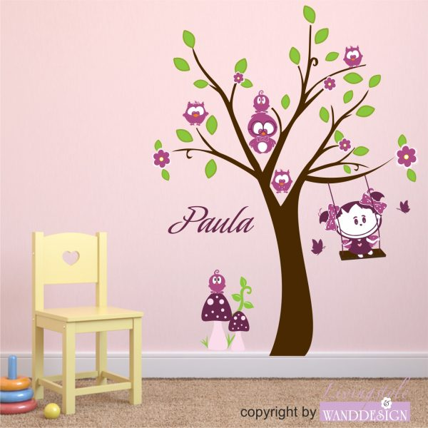 """Wandtattoo """"Eulenbaum mit Paula Sonnenschein"""""""