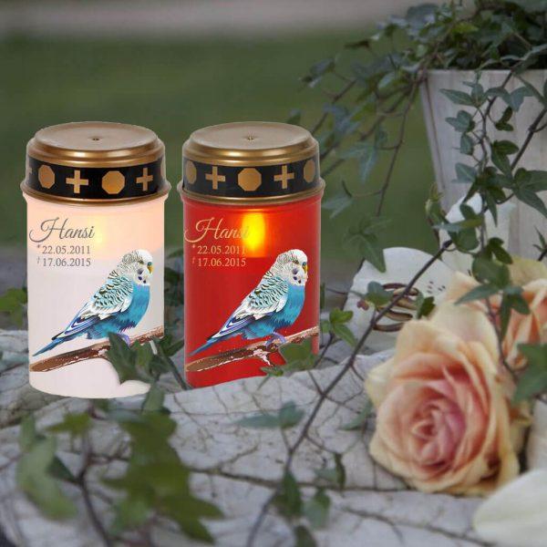 LED Grablicht Kerze Klein für Tiere Blauer Vogel