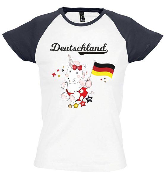 Damen T-Shirt Milky EM 2021 Motiv 7 Einhorn Cutie