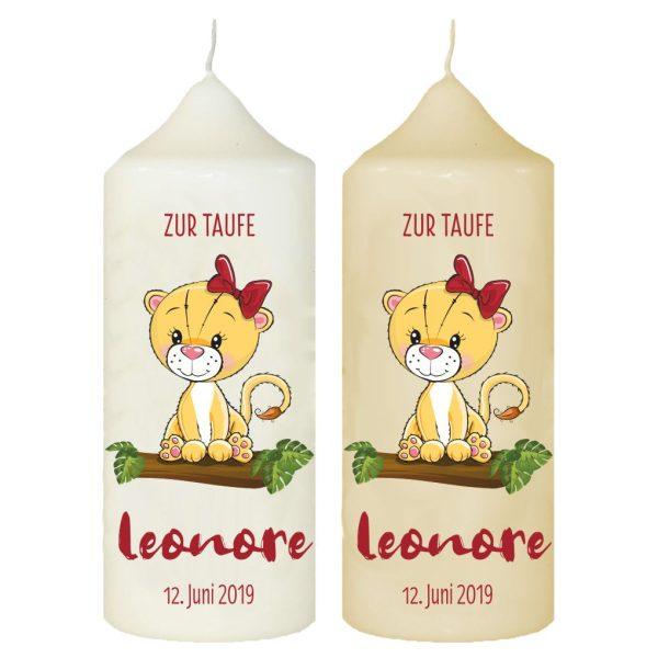 Taufkerze mit Name und Datum Löwenmädchen