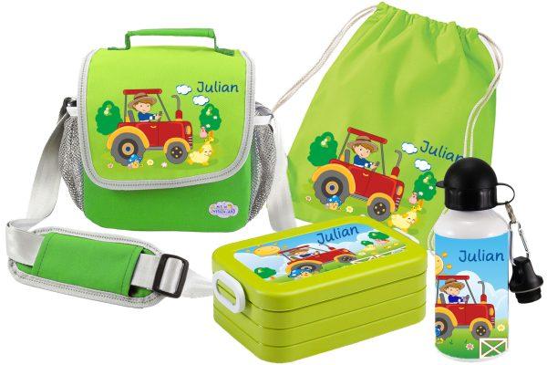Set 5 Tasche Happy Knirps + Brotdose Mepal + Turnbeutel aus Baumwolle + Trinkflasche grün Traktor ro