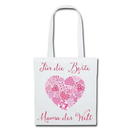 Stofftasche Muttertag Herz weiß