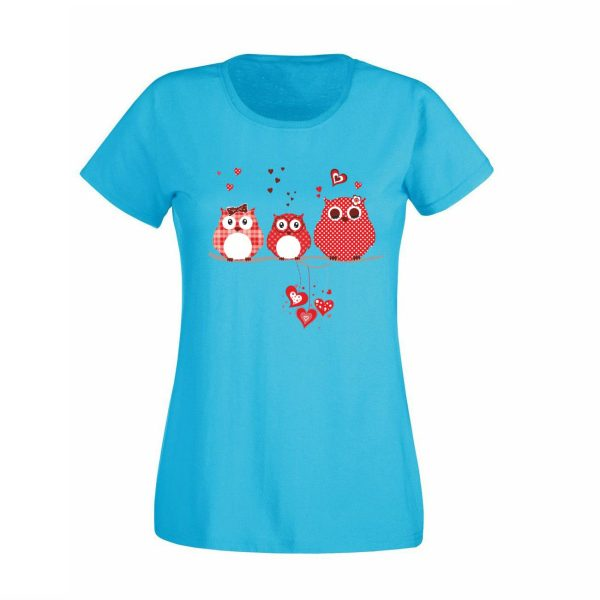 Damen T-Shirt Eulen rot