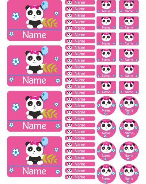Namensaufkleber Heftaufkleber Stickerbogen Panda