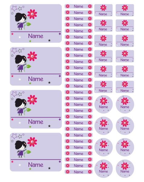 Namensaufkleber Heftaufkleber Stickerbogen Blume