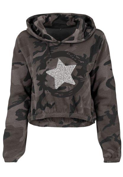 Damen Camouflage Cropped Hoodie Glitzer Stern