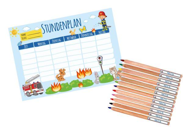 Set: Stundenplan Timetable Schulplaner DIN A4 + 12 Buntstifte Jumbo