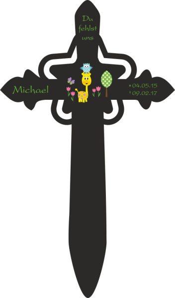 Grabkreuz mit Stern für Sternenkind Giraffe