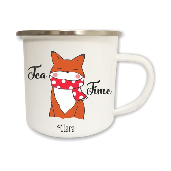 Emailletasse Tea Time mit Name