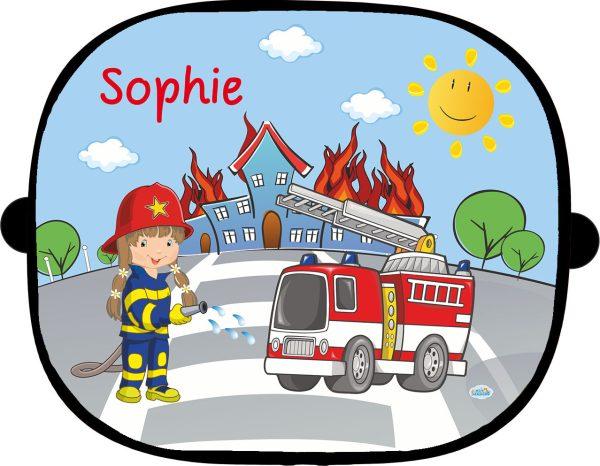 Sonnenblende 1 teilig für eine Fensterseite Feuerwehrmädchen