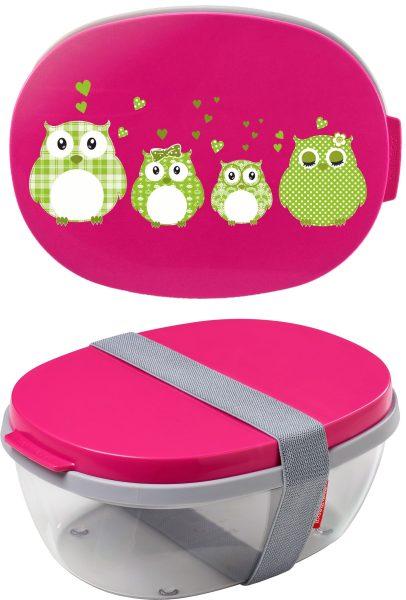 Salatbox Ellipse Pink Eulen grün