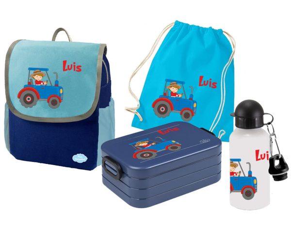 Set 5 Rucksack Happy Knirps NEXT - Brotdose Maxi - Jutebeutel - Trinkflasche Blau Traktor