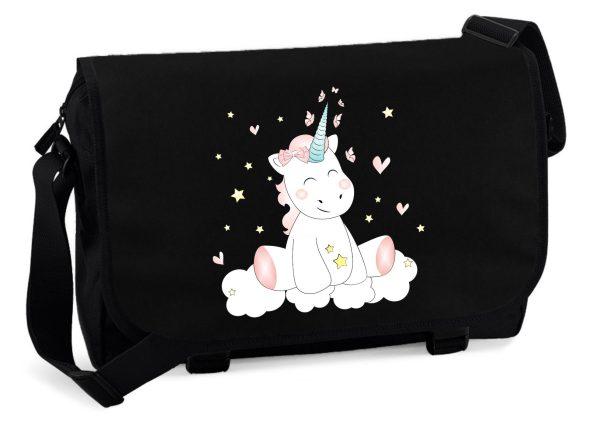Schultertasche Messenger schwarz Unicorn Einhorn cutie